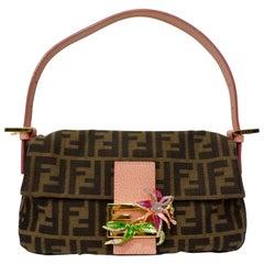 Fendi 1990s Adorned Zucca Baguette Bag