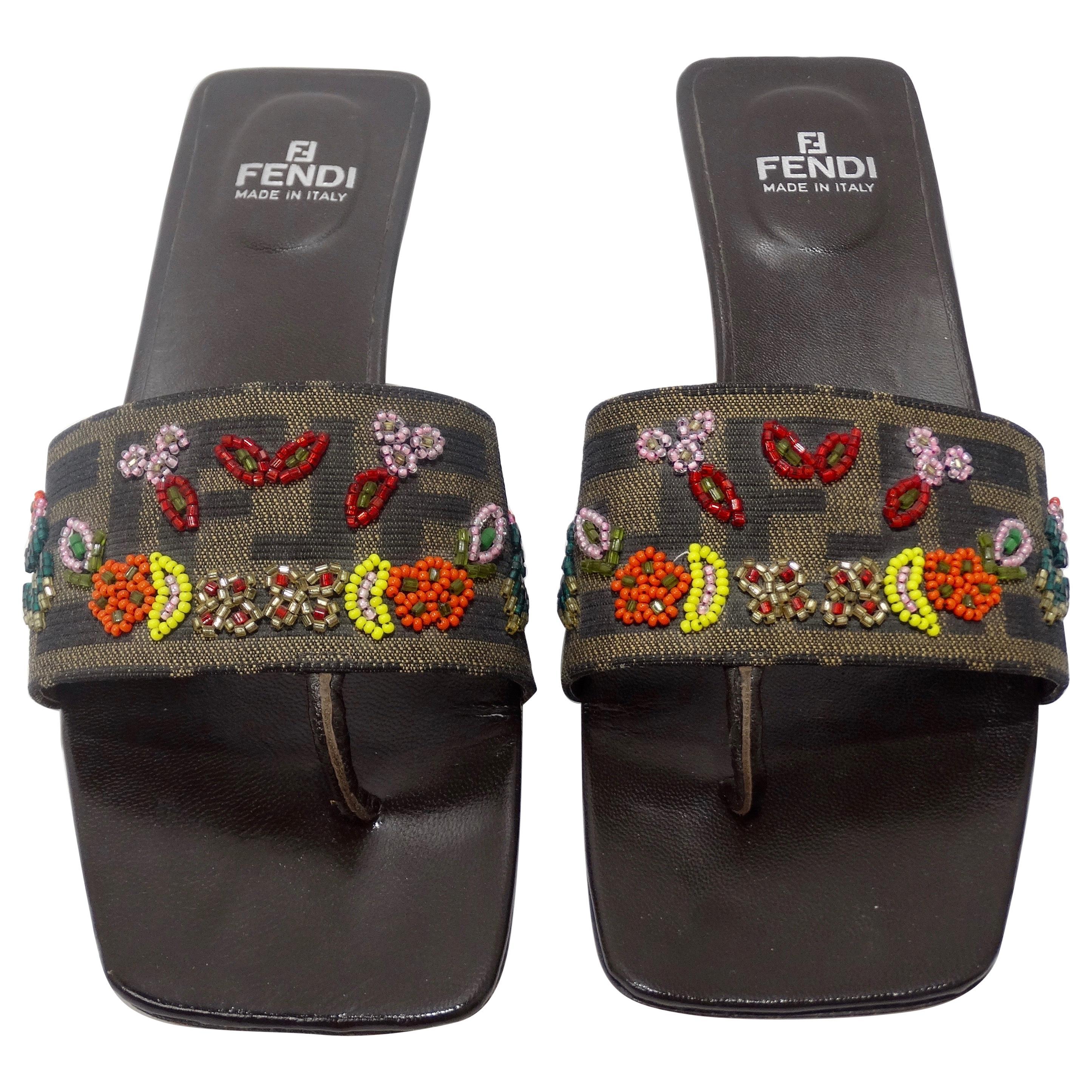 Fendi 1990s Beaded Kitten Heel Sandals