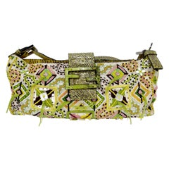 Fendi 1990s Green Embroidered Baguette
