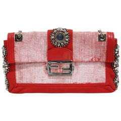 Fendi 2000s Embroidered Canvas Baguette