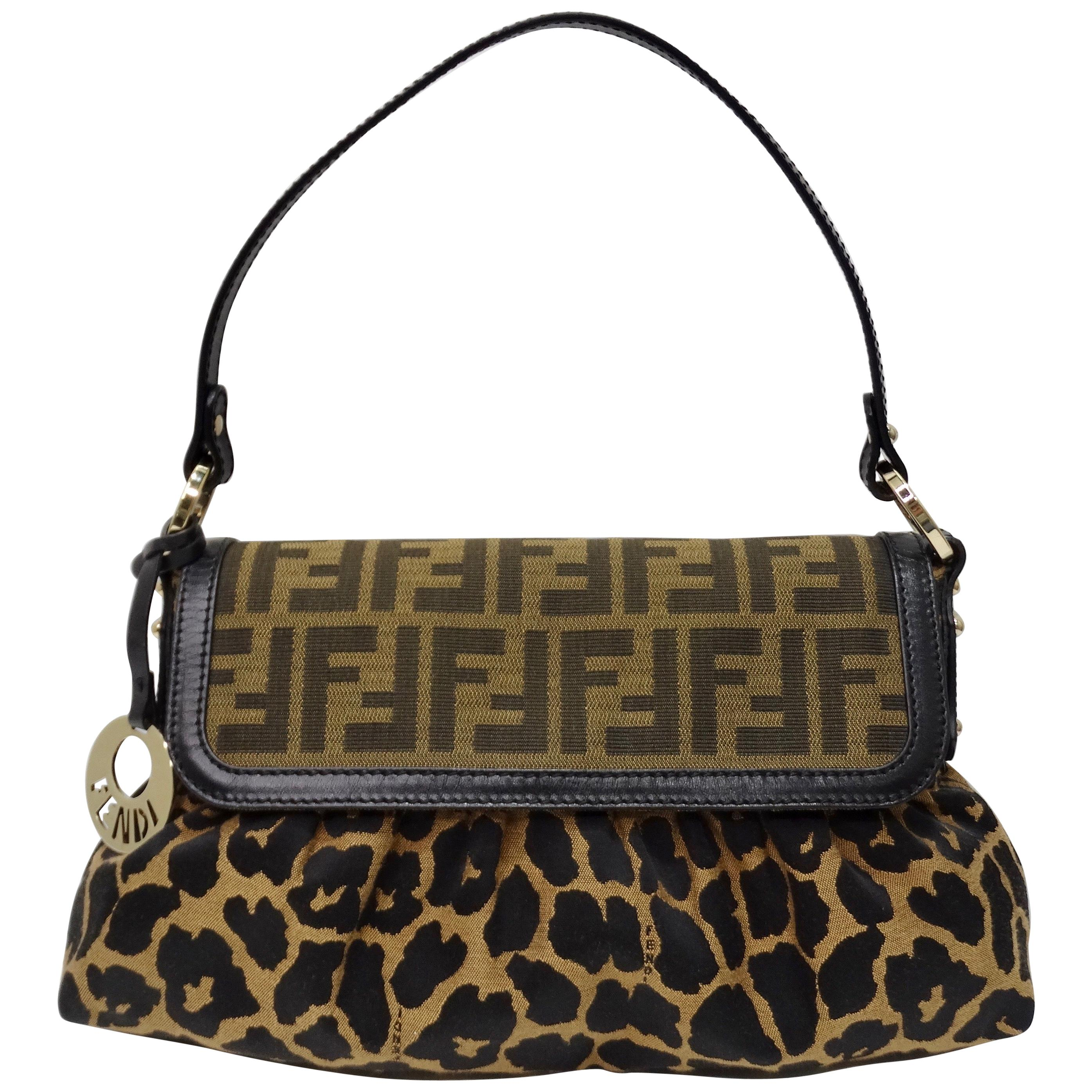 Fendi 2000s Leopard Print Zucca Handbag