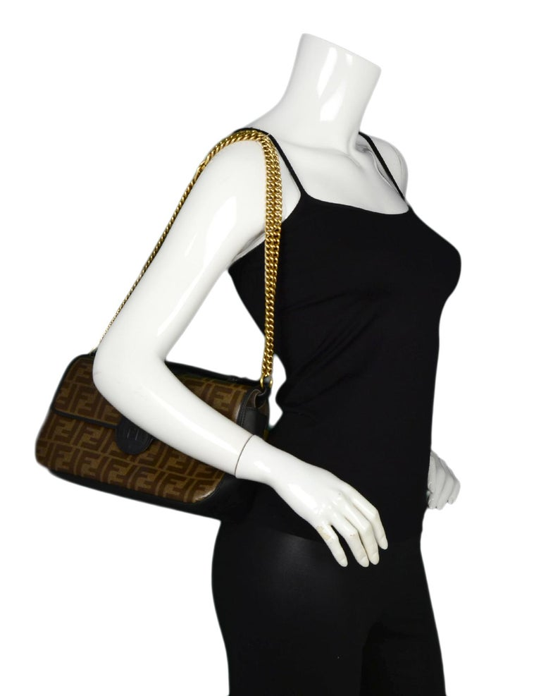 ... Double Flap FF Shoulder Crossbody. Fendi 2018 Black Brown Leather   Canvas  FF Monogram Crossbody Bag rt  2,590 In Excellent b90ce1b219