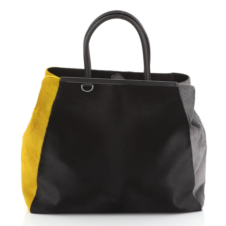Black Fendi 2Jours Bag Calf Hair Large