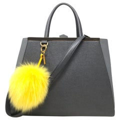 FENDI 2Jours Grey Saffiano Regular Tote bag