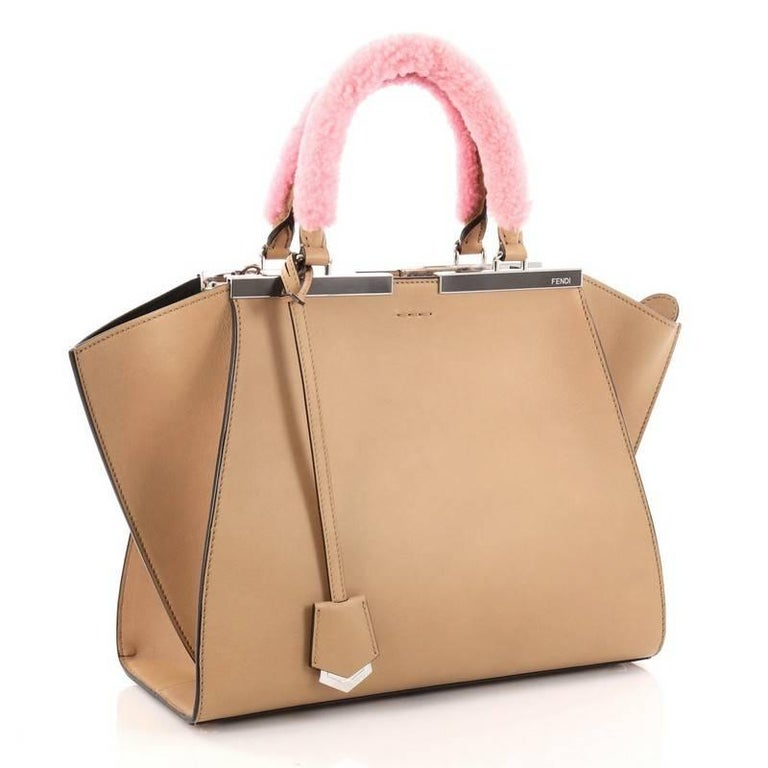 749a6aaac94e Brown Fendi Leather with Shearling Petite 3Jours Handbag For Sale