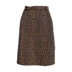 Fendi Animalier Brown Leopard Monogram Demin Pencil Skirt 1990s