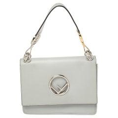 Fendi Ash Grey Leather Kan I F Top Handle Bag