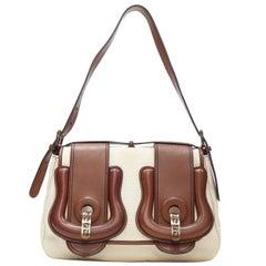 FENDI B Bag beige canvas brown oversized FF monogram buckle shoulder bag