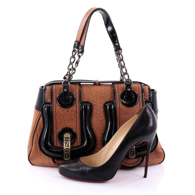 This Authentic Fendi B Bag Leather Medium Is A Chic With Roomy Construction