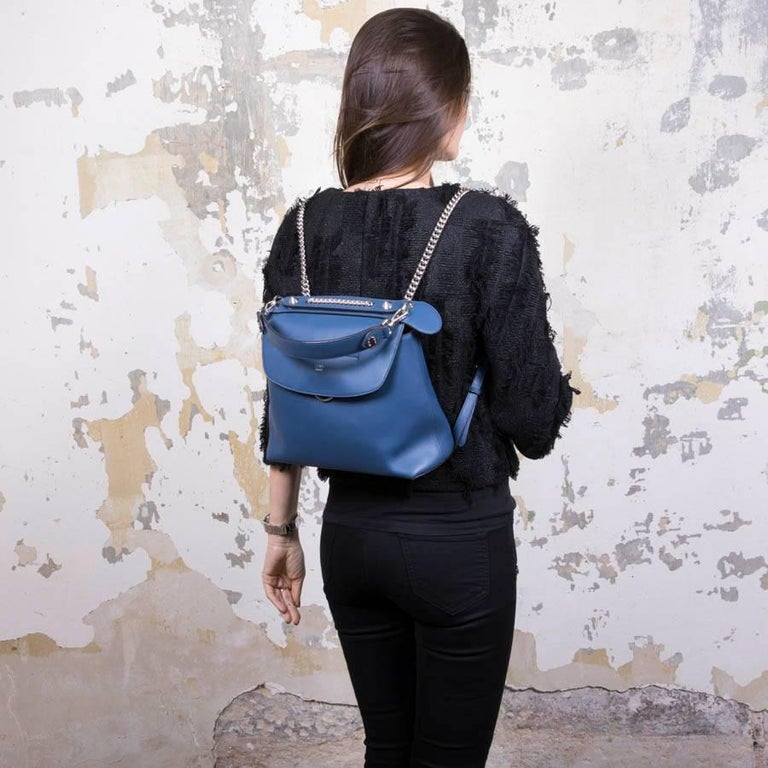 fe77c267ed0e FENDI  Back to School  Backpack in Soft Blue Leather at 1stdibs