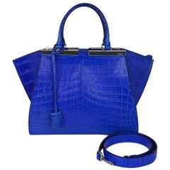Fendi Bag 3Jours Matte Blue Crocodile Tote Medium New w/Box