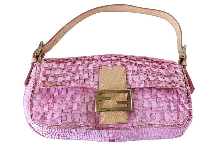 Women's Fendi Baguette Bag Pink Paillettes Exotic Skin Handle Vintage For Sale