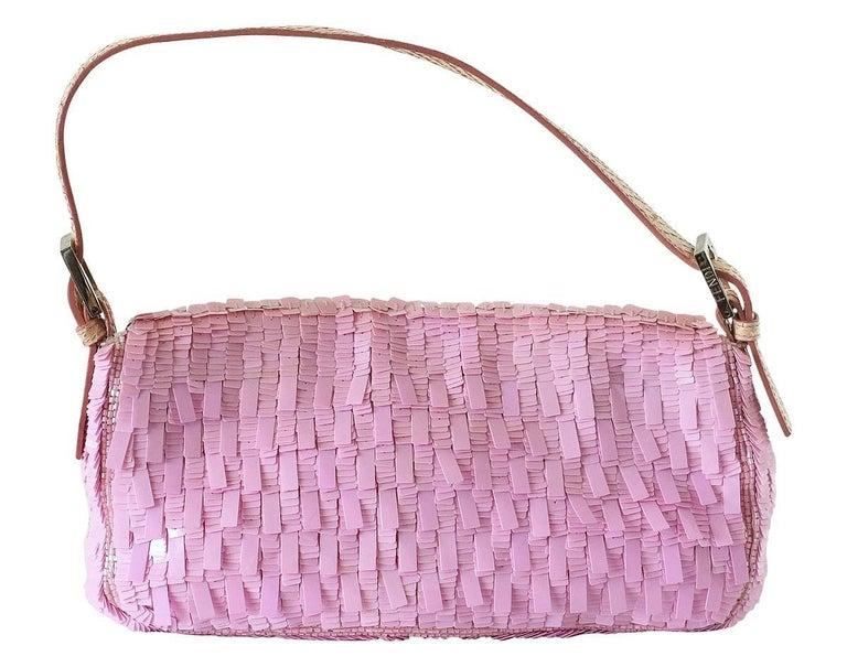 Fendi Baguette Bag Pink Paillettes Exotic Skin Handle Vintage For Sale 1