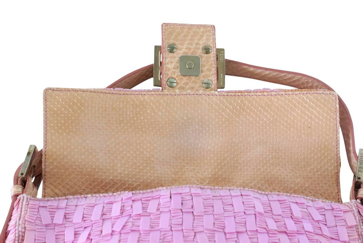 Fendi Baguette Bag Pink Paillettes Exotic Skin Handle Vintage Hywd7y