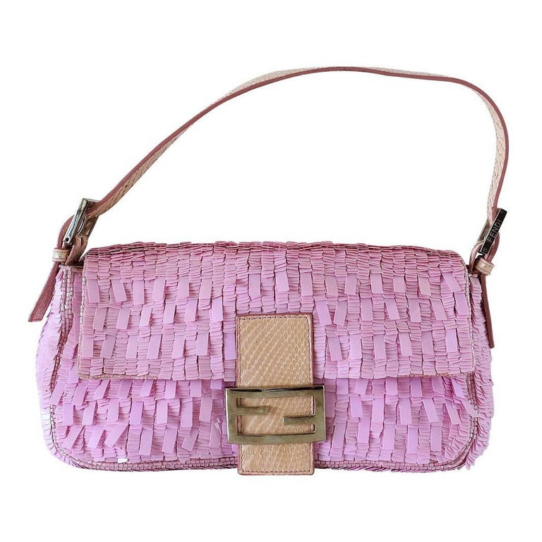 Fendi Baguette Bag Pink Paillettes Exotic Skin Handle Vintage For Sale