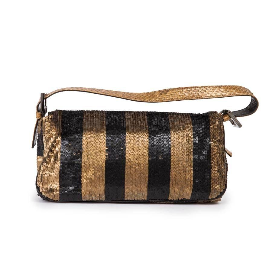 89aae22464 Fendi Baguette Bag With Bronze Black And Gold Sequins eJpU7 ...