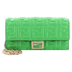 Fendi Baguette Continental Wallet on Chain Zucca Embossed Leather