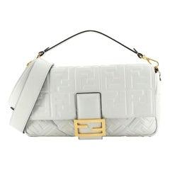 Fendi Baguette NM Bag Zucca Embossed Leather Large