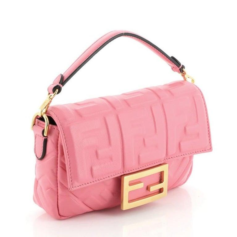 Pink Fendi Baguette NM Bag Zucca Embossed Leather Mini