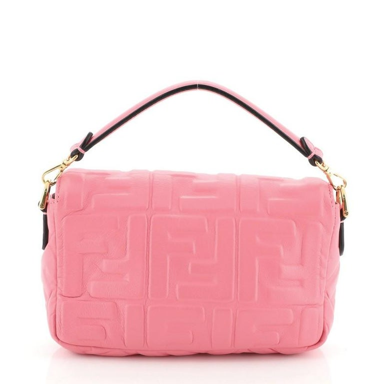 Fendi Baguette NM Bag Zucca Embossed Leather Mini In Good Condition In New York, NY