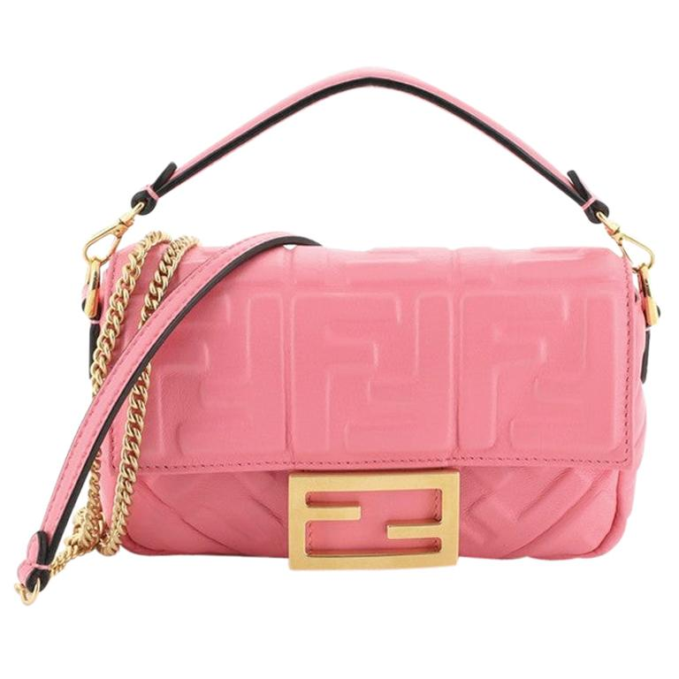 Fendi Baguette NM Bag Zucca Embossed Leather Mini