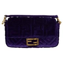 FENDI Baguette Purple Embossed Velvet Bag