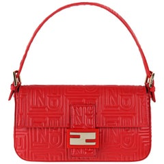 "FENDI ""Baguette"" Red Gold Nappa Leather Quilted Embossed Logo Flap Top Handbag"