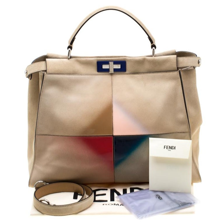 Fendi Beige Airbrushed Suede and Leather Large Peekaboo Tote For Sale 8