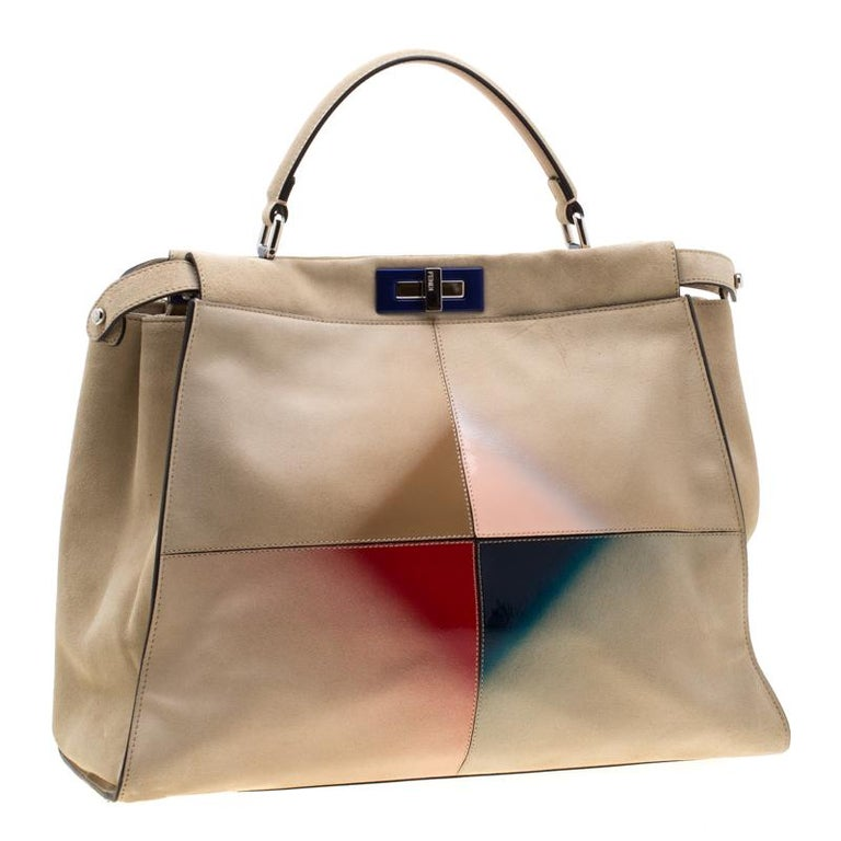 Women's Fendi Beige Airbrushed Suede and Leather Large Peekaboo Tote For Sale