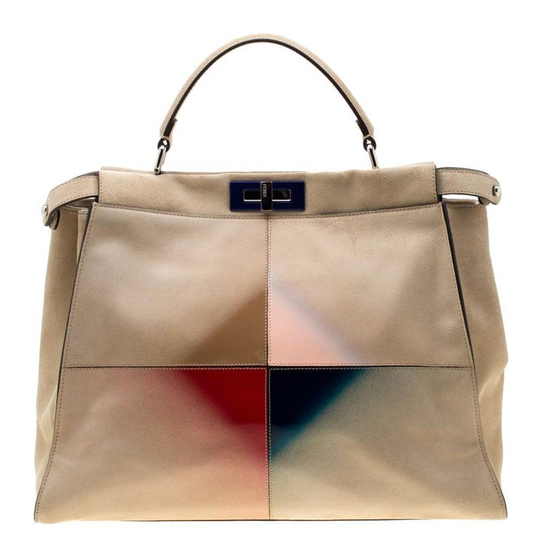 Fendi Beige Airbrushed Suede and Leather Large Peekaboo Tote For Sale