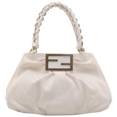 Fendi Beige and White Zucca Mia Hobo