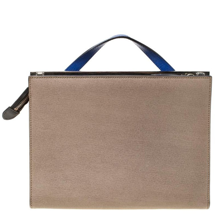 Fendi Beige/Blue Textured Leather Small Demi Jour Top Handle Bag For Sale 7
