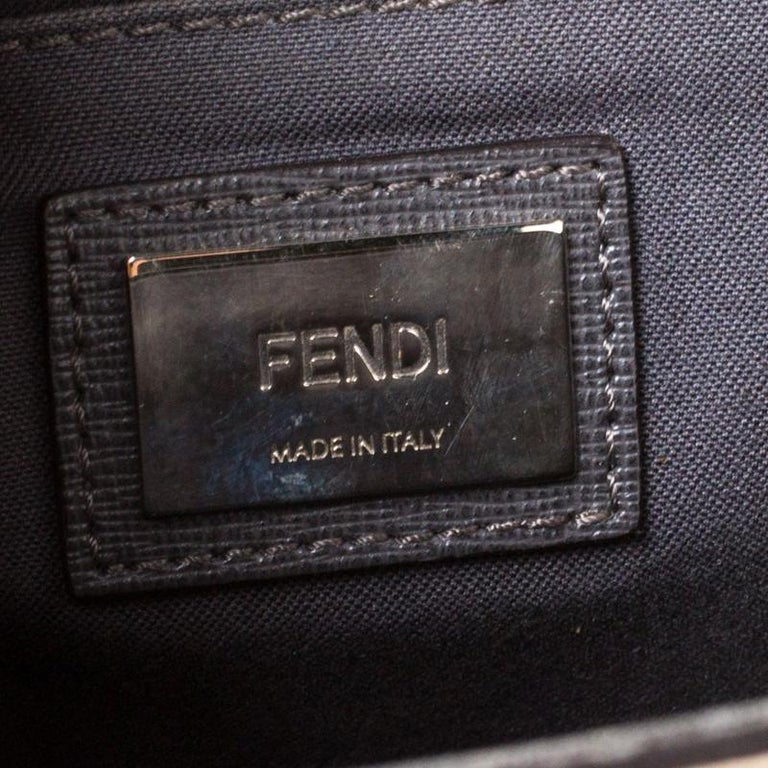 Fendi Beige/Blue Textured Leather Small Demi Jour Top Handle Bag For Sale 2