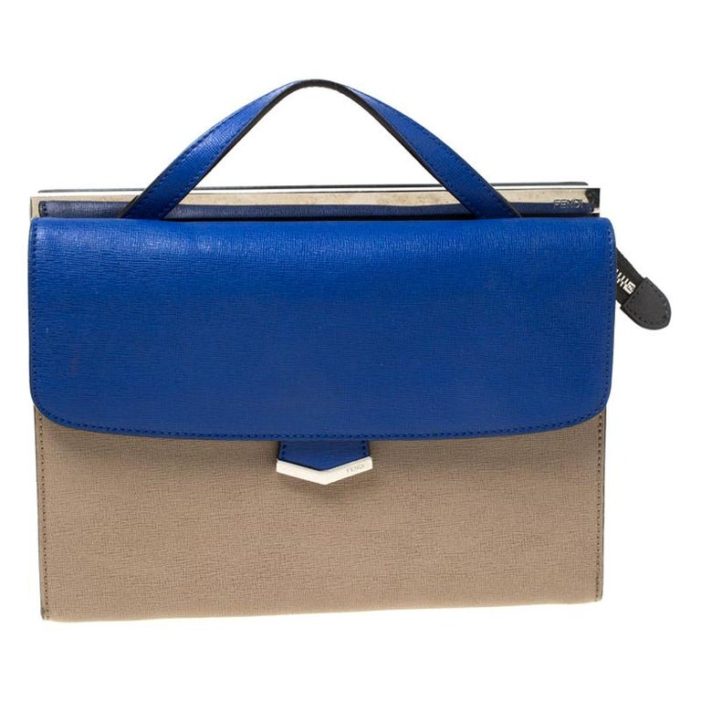 Fendi Beige/Blue Textured Leather Small Demi Jour Top Handle Bag For Sale