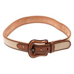 Fendi Beige/Brown Fabric and Leather B Buckle Belt 85CM