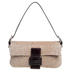 Fendi Beige/Brown Leather and Beaded Baguette Flap Bag