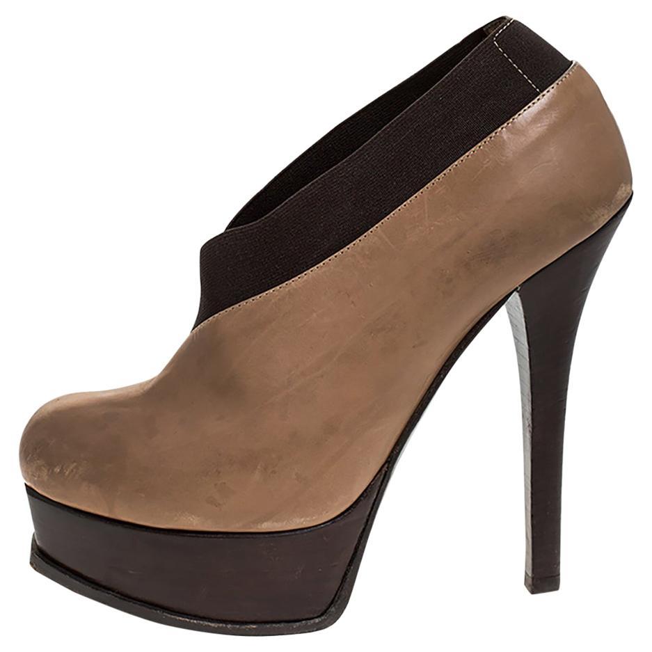 Fendi Beige/Brown Leather Fendista Faux-wrap Platform Ankle Booties Size 37