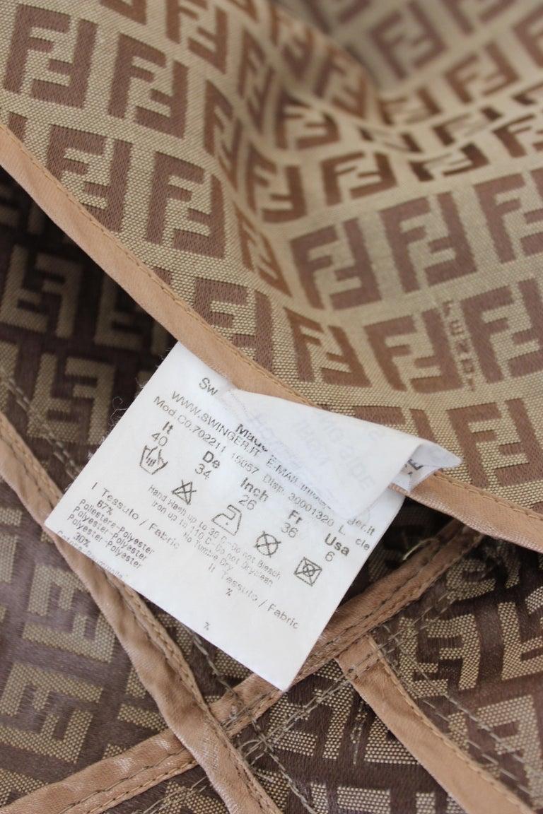 Fendi Beige Cotton Monogram Zucca Jacket 1990s For Sale 6