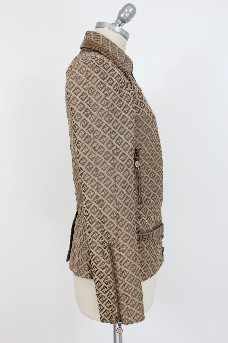 Fendi Beige Cotton Monogram Zucca Jacket 1990s In Excellent Condition For Sale In Brindisi, Bt
