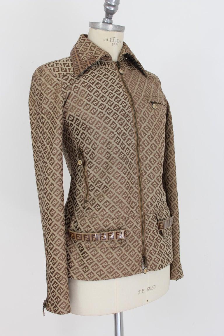 Women's Fendi Beige Cotton Monogram Zucca Jacket 1990s For Sale