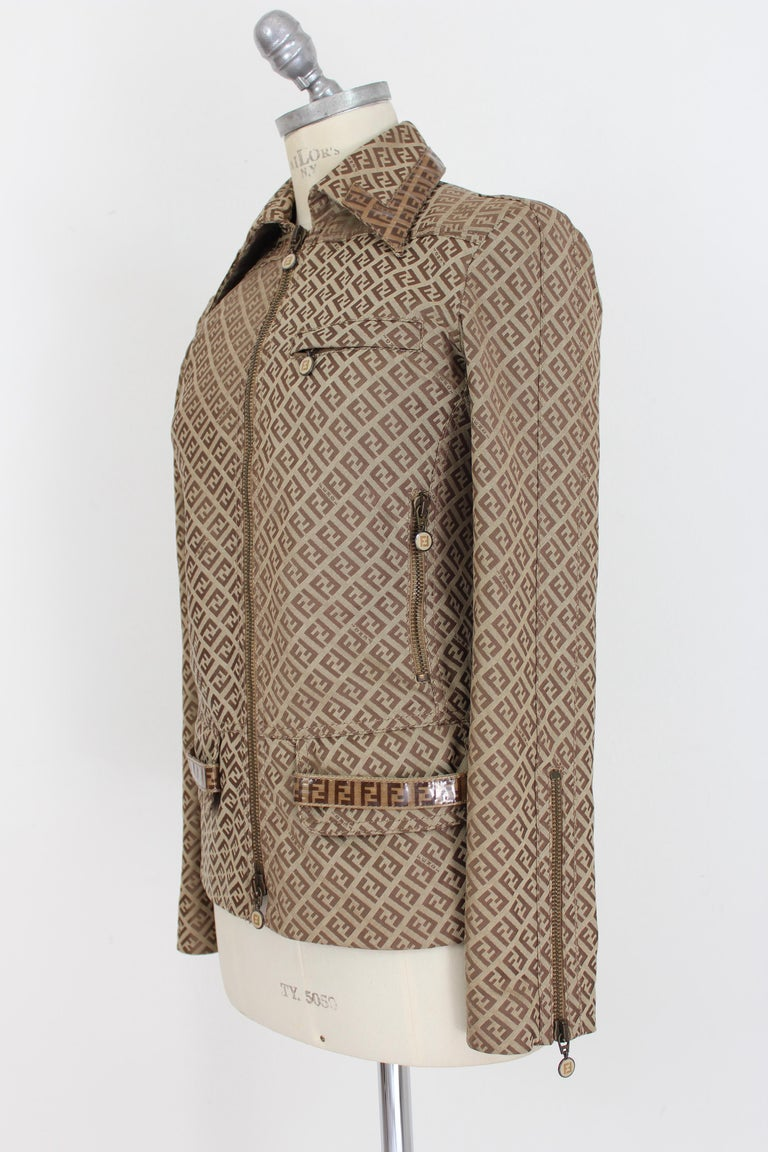 Fendi Beige Cotton Monogram Zucca Jacket 1990s For Sale 1