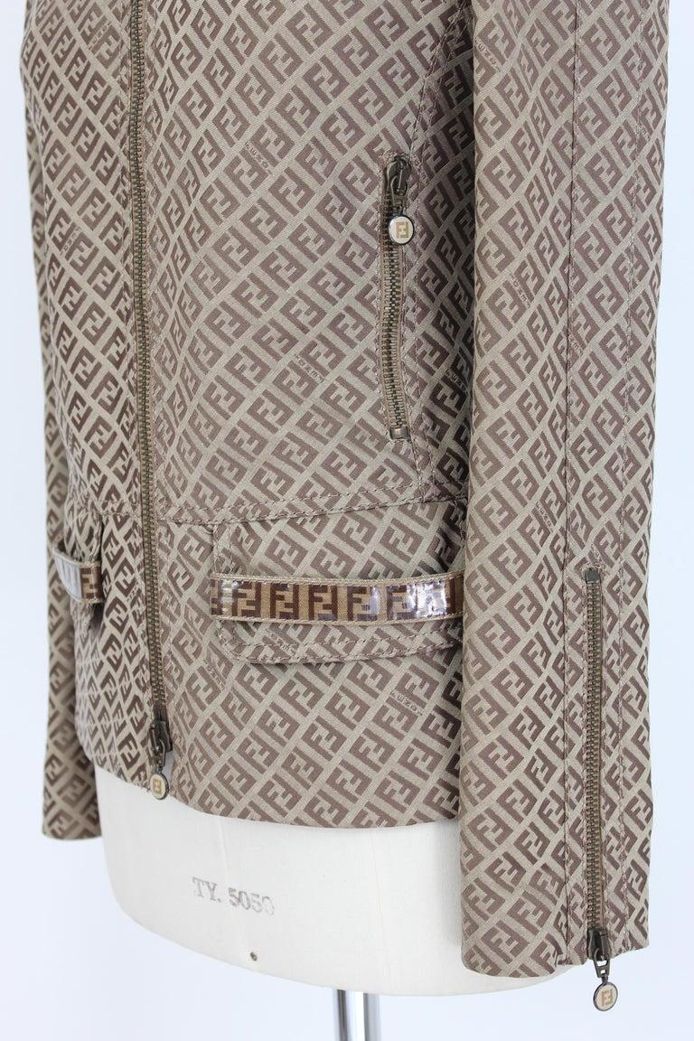 Fendi Beige Cotton Monogram Zucca Jacket 1990s For Sale 2