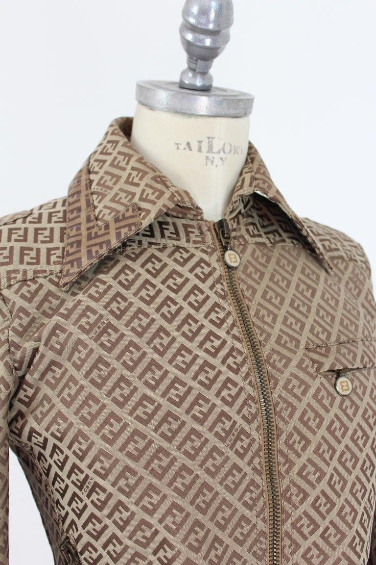 Fendi Beige Cotton Monogram Zucca Jacket 1990s For Sale 3