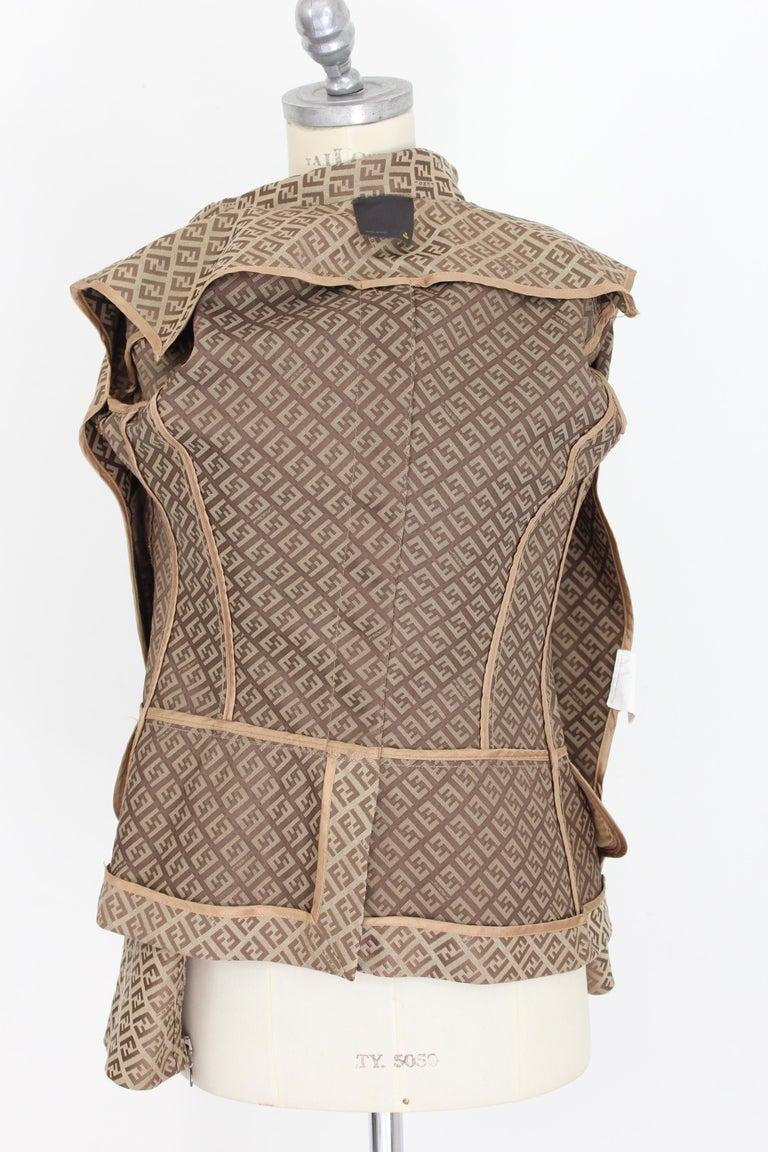 Fendi Beige Cotton Monogram Zucca Jacket 1990s For Sale 4