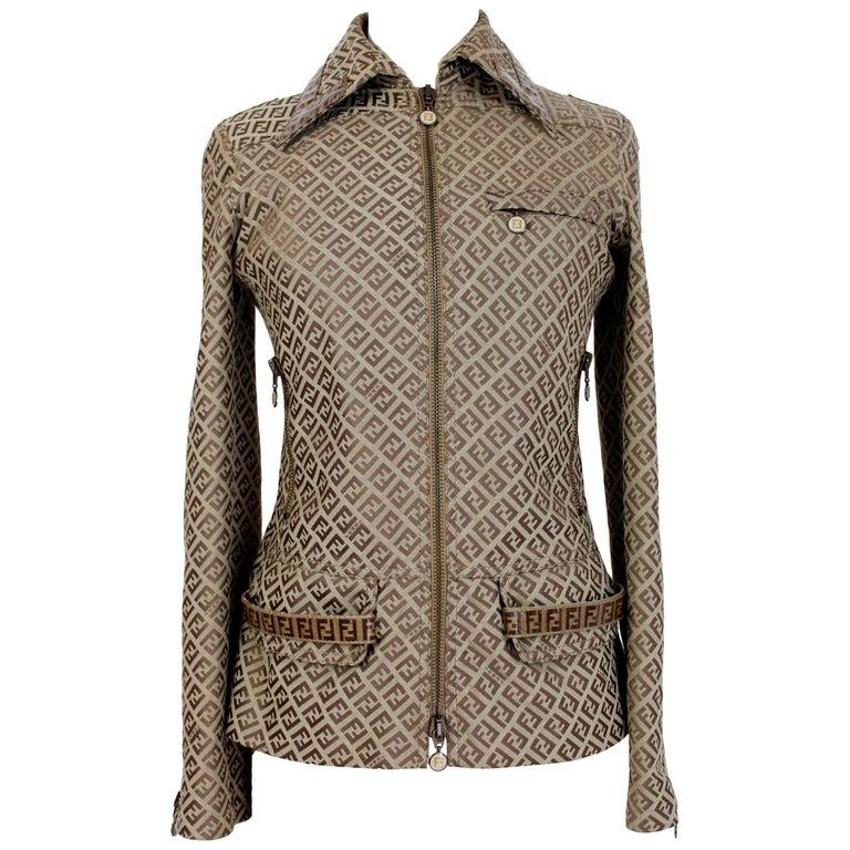 Fendi Beige Cotton Monogram Zucca Jacket 1990s For Sale