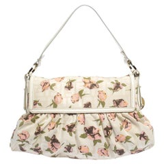 Fendi Beige Floral Print Zucca Canvas and Leather Chef Shoulder Bag