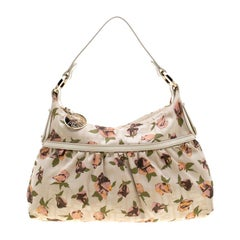 Fendi Beige Floral Print Zucca Canvas Chef Shoulder Bag