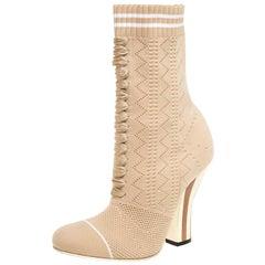 Fendi Beige Knit Fabric Rockoko Runway Openwork Ankle Boots Size 37