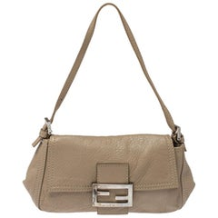 Fendi Beige Leather Baguette Shoulder Bag