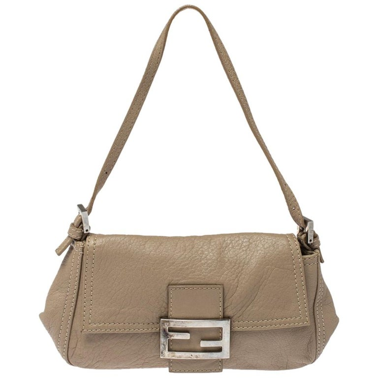 Fendi Beige Leather Baguette Shoulder Bag For Sale
